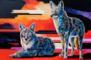 Coyote Art Paintings - Sentinels II by Bob Coonts