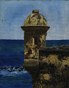 Old San Juan Painting Metal Prints - Sentry Box Metal Print by Karen Ayala