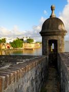 Old San Juan Metal Prints - Sentry Post on Old City Wall Metal Print by George Oze