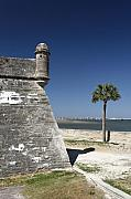 Historic Site Posters - Sentry Post on the Wall Castillo De San Marcos St Augustine Florida Poster by George Oze