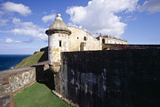 Castillo San Cristobal Posters - Sentry Post on the Wall in San Cristobal Fort Poster by George Oze