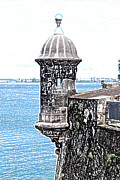 Puerto Rico Digital Art Prints - Sentry Tower Castillo San Felipe Del Morro Fortress San Juan Puerto Rico Colored Pencil Print by Shawn OBrien
