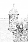 Puerto Rico Digital Art Prints - Sentry Tower Castillo San Felipe Del Morro Fortress San Juan Puerto Rico Line Art Black and White Print by Shawn OBrien