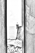 Destinations Digital Art Posters - Sentry Tower View Castillo San Felipe Del Morro San Juan Puerto Rico Black and White Line Art Poster by Shawn OBrien