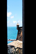 Castillo San Felipe Del Morro Framed Prints - Sentry Tower View Castillo San Felipe Del Morro San Juan Puerto Rico Ink Outlines Framed Print by Shawn OBrien
