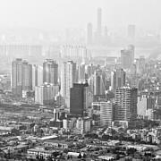 Cityscape Pyrography Prints - Seoul South Korea 2012 Print by Eduard Kraft