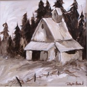 Monotone Paintings - Sepia Barn by Phyllis Howard
