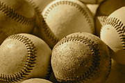 Ball And Glove Prints - Sepia Baseballs Print by Bill Owen