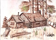 Log Cabin Drawings Prints - Sepia Cabin in Montana Print by Windy Mountain