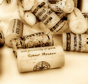 Merlot Photo Metal Prints - Sepia Corks Metal Print by Cheryl Young