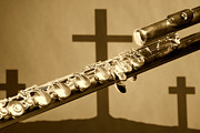 Museum Print Prints - Sepia Flute With Crosses Print by M K  Miller
