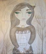 Beige Paintings - Sepia Girl by Sacred  Muse