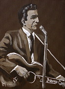 Singer  Paintings - Sepia Johnny by Pete Maier