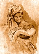 Religious Drawings Metal Prints - Sepia Madonna Metal Print by George Nock