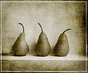 Fruit Still Life Digital Art Posters - Sepia Pears Poster by Linde Townsend