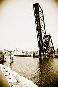 Desmond Posters - Sepia Port Huron Bridge Poster by Cindy Lindow