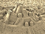 Paulette Thomas Photography Posters - Sepia Sand Castle Poster by Paulette  Thomas