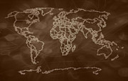 Earth Map  Digital Art Prints - Sepia Shades World Map digital art Print by Georgeta  Blanaru