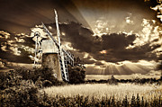 Norfolk; Prints - Sepia Sky Windmill Print by Meirion Matthias