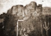 Sepia Version Of Mesa Painting Print by Anne-Elizabeth Whiteway