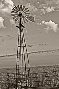 Southwest Oklahoma Framed Prints - Sepia WIndmill and Tank Framed Print by Tony Grider