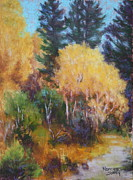 Aspen Trees Pastels Prints - September Aspen Print by Nancy Jolley