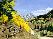 Mountains Painting Posters - September Gold Poster by Barbara Jewell