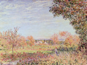 Autumn Landscape Painting Prints - September Morning Print by Alfred Sisley