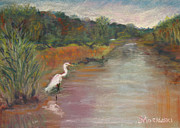 Egret Pastels Posters - September on the Island Poster by Cindy Morawski