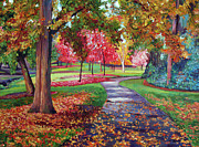 Autumn Trees Painting Posters - September Park Poster by David Lloyd Glover