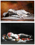 Self Portrait Motorcycle Arai Helmet Leather Suit Figurative Realism Diptych Sculpture Statue Renaissance Dark Emotive Expressive Saint St. Cecilia Posters - September Sixth Diptych Poster by Ian Hemingway