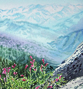 Watercolor By Irina Framed Prints - Sequoia Mountains Framed Print by Irina Sztukowski