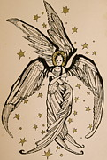 Seraphim Angel Drawings Prints - Seraphim Print by Jackie Rock