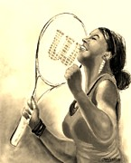 Tennis Player Drawings Prints - Serena in Sepia Print by Carol Allen Anfinsen