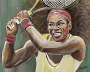 Racket Digital Art Framed Prints - Serena Framed Print by James  Mingo