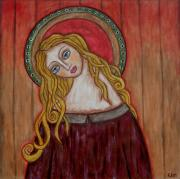 Christian Art . Devotional Art Painting Prints - Serena Print by Rain Ririn