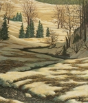 Winter Scene Paintings - Serene afternoon by Marc Dmytryshyn