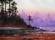 Landscape Greeting Card Painting Originals - Serene Coast Sunset by James Williamson