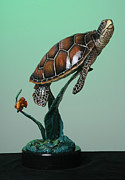 Turtle Sculpture Posters - Serene Poster by Donna Mohler