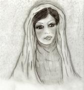 Virgin Mary Drawings Prints - Serene Mary Print by Sonya Chalmers