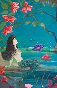 Water Scenes Painting Prints - Serene Mermaid Print by Marilyn Hibler