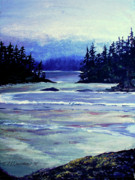River View Paintings - Serene Ocean View by Patricia L Davidson