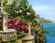 Trees Blossom Paintings - Serene Sorrento by Trevor Neal