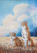 Cheetah Painting Prints - Serengeti Strikes Print by DiDi Higginbotham