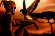 Tribal Art Art - Serengeti Sunset by Carol Cavalaris