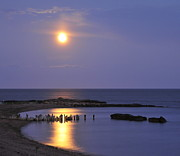 Sea Moon Full Moon Prints - Serenity Connecticut Coastline Print by Cindy Lee Longhini
