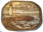 Lighthouse Pyrography Posters - Serenity Poster by Doris Lindsey