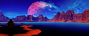 Painted Image Prints - Serenity Panorama Digitally Created Print by Raj Kamal
