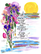 Watercolors Drawings - Serenity Prayer by Darlene Flood