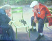 Chess Men Paintings - Serious Business by Kathy Brusnighan